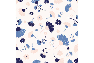 Colorful flowers seamless repeat pattern