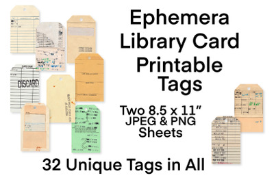 Ephemera Vintage Library Card Printable Tags
