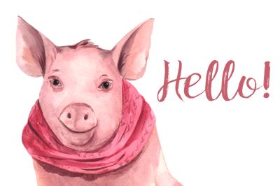 Watercolor Winter Piglet Clip Art