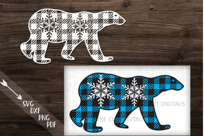 Polar Buffalo Plaid Christmas Bear paper laser cut template svg pdf