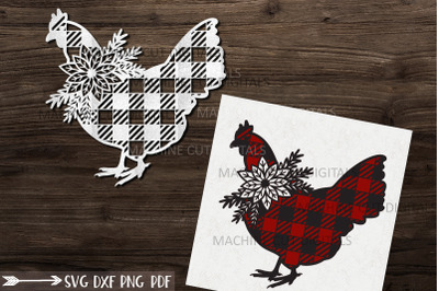 Floral Buffalo Plaid Christmas Chicken svg papercut template
