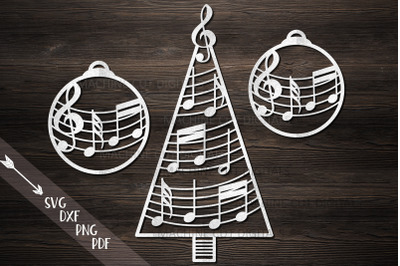 Christmas Tree Decorations with music notes svg cut files