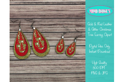 Gold and Red Leather and Glitter Christmas Tree Earring Clipart