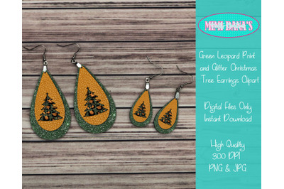 Green Leopard Print and Glitter Christmas Tree Earrings Clipart