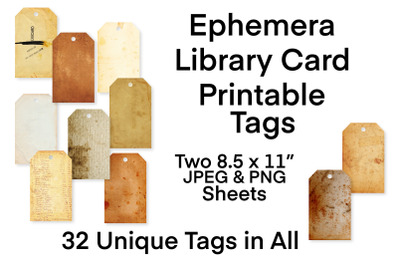 Vintage Ephemera Printable Tags Collection