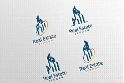 Real estate Vector Logo Design, Abstract Building and Home
