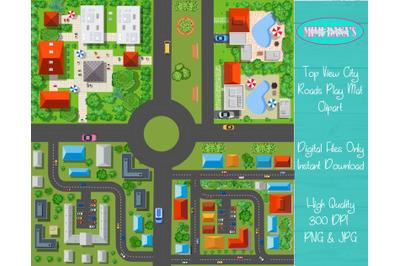 Top View City Roads Play Mat Clipart