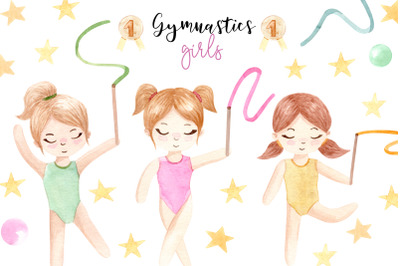 Watercolor Gymnastic Girls.  Patterns and Cliparts