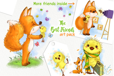 Fox and chick PNG clipart. The best friend graphic art. Birthday cards