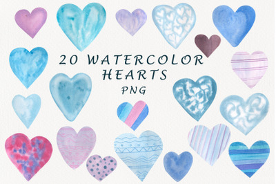 watercolor hearts clipart.