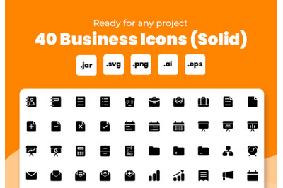 Business icon set (Solid)