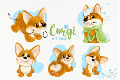 Corgi puppy PNG clipart download. Cute dog graphics. Funny cartoon cor