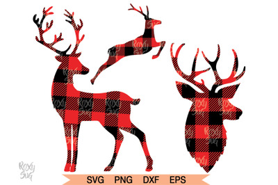 Reindeer SVG, Reindeer Clipart, Deer SVG, Deer PNG, Plaid Deer Svg
