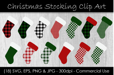 Christmas Stocking Buffalo Check Clip Art