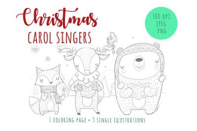 Carol singers - coloring pages, digital stamps