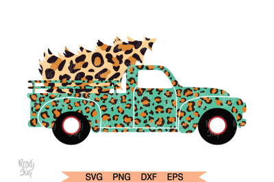 Christmas Tree Truck SVG, Leopard Turquoise Truck svg