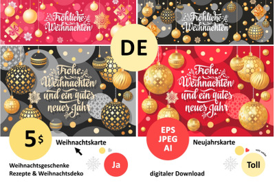 Christmas card. Weihnachten. Christmas in different languages.