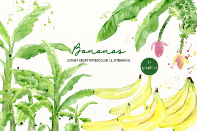 Watercolor banana clipart