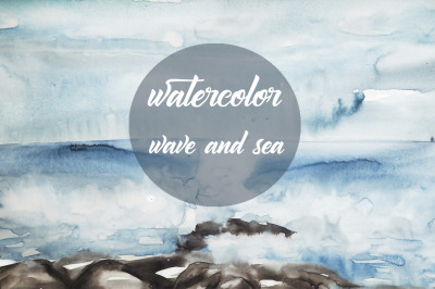 watercolor wave and sea