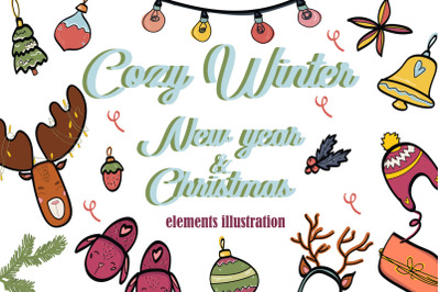 Cozy winter! New Year & Christmas elements