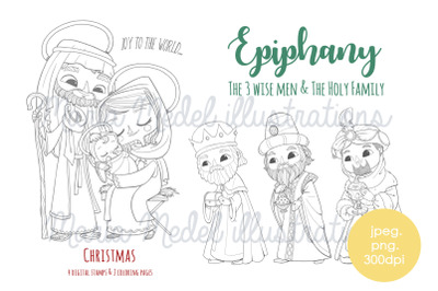 Epiphany- Christmas coloring and digital stamps