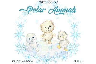Watercolor Christmas Holiday Winter Clipart. Polar bear, penguin, seal