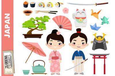 Japan clipart Japanese clip art Geisha Samurai clipart Asia graphics