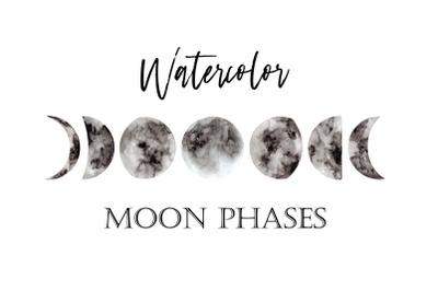 Watercolor Moon Phases