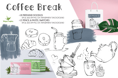 Cofee break : hand-drawn illustrations in EPS 10 and png