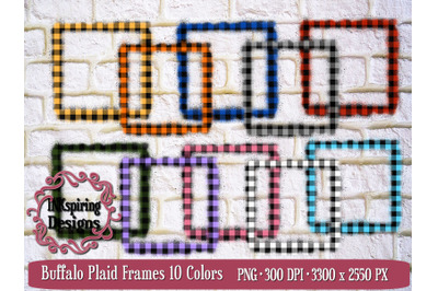 Buffalo Plaid Frames PNG Sublimation and Printable Elements