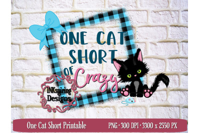 One Cat Short PNG Sublimation and Printable Design