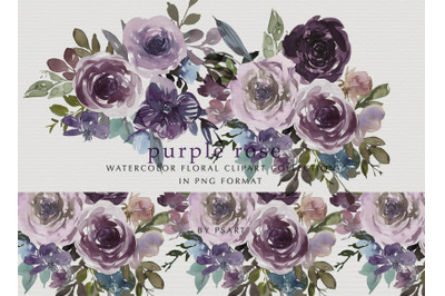 Purple Watercolor Rose Clipart Collection