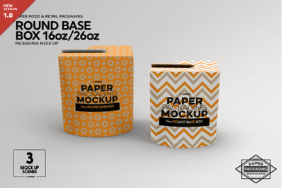 Paper Round Base Box 16/26oz Mockups