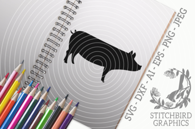 Pig SVG, Silhouette Studio, Cricut, Eps, Dxf, AI, PNG, JPEG