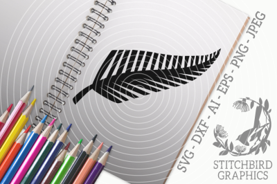 New Zealand Fern SVG, Silhouette Studio, Cricut, Eps, Dxf, AI, PNG