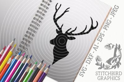 Stag Head 1 SVG, Silhouette Studio, Cricut, Eps, Dxf, AI, PNG, JPEG