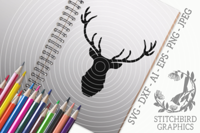 Stag Head 2 SVG, Silhouette Studio, Cricut, Eps, Dxf, AI, PNG, JPEG