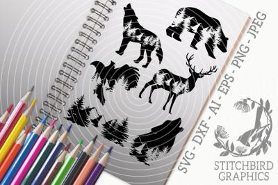 Mountain Range Bundle SVG, Silhouette Studio, Cricut, Eps