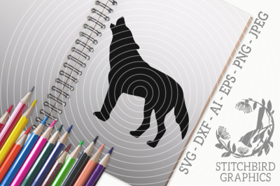 Howling Wolf SVG, Silhouette Studio, Cricut, Eps, Dxf, AI, PNG, JPEG