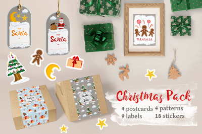 Christmas cards, labels, stickers, textures