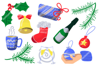 Christmas And New Year Vector Sticker Set