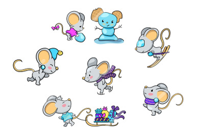 Cute Mouse Character Playing Winter Activity Vector Clipart