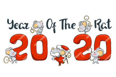 2020 Year of Rat Vector Banner