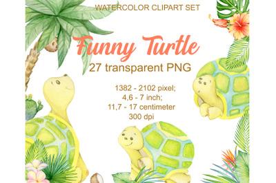 Turtle, tropical plants. Watercolor set. Cute tropical turtles. Childr