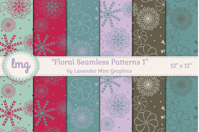 Floral Seamless Patterns in Teal, Red, Purple