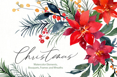 Christmas Watercolor Flowers Leaves Branches, Pine, Fir, Poinsettia