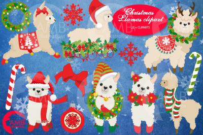 Christmas Llamas clipart AMB-2694