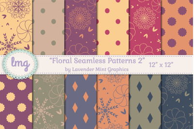 Floral Seamless Red, Purple, Orange Papers