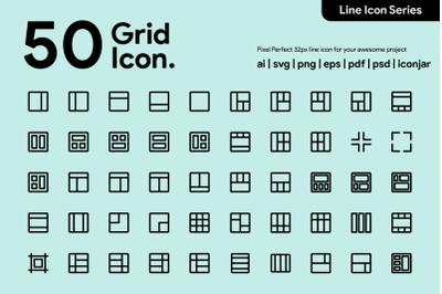 50 Grid Icon Line