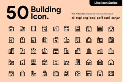 50 Building Line Icon